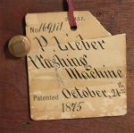 Patent Model Mechanical Washing Machine w/Patent Tags 1875
