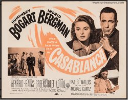 Casablanca Original Vintage Movie Poster Title Card Bogart 1956