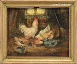 ARTHUR FITZWILLIAM TAIT 19th Century Painting Chickens Barn