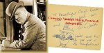 WC Fields Autograph Signed Art Sketch and Note