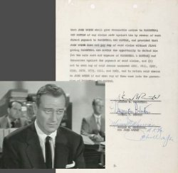 John Wayne Divorce Agreement Autograph Signed TWICE ! Birth name