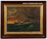 American School Seascape oil painting on board 19th Century