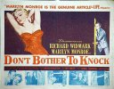 Don't Bother to Knock, 1952, Marilyn Monroe, Title Card