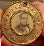 Abraham Lincoln Hannibal Hamlin Political Pin/Token,1860 leaf
