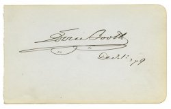 Edwin Booth (John Wilkes brother), Original Autograph 1879
