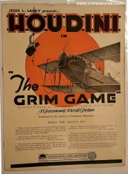 "Harry Houdini ORIGINAL Vintage ""The Grim Game"" Brochure 1919"