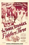 Three 3 Stooges Fiddlers Three, vintage one sheet 1948 NICE!