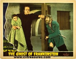 Ghost of Frankenstein Lugosi/Chaney lobby card '42 JUST ACQUIRED