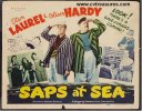 Laurel & Hardy Saps at Sea Original VintageTitle lobby card