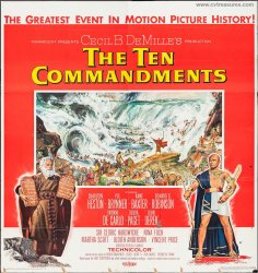 Ten Commandments Original Vintage SIX SHEET Movie Poster Heston