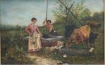 George A. Hays Watering Cows oil canvas 1897