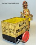 Black Pinocchio Tin Mars Busy Delivery Cart 1930s RARE
