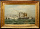 BATTLE SCENE w. DANISH SHIPS 1894 Art Oil Painting