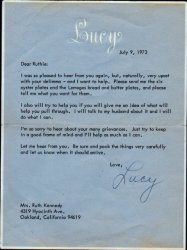 Lucy Ball Autographed SIgned Letter