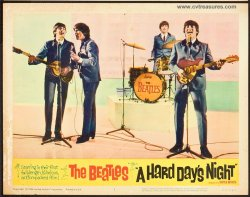 Hard Day's Night Beatles Vintage lobby card Movie Poster