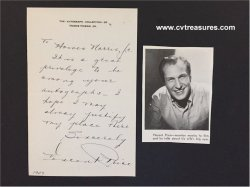 Vincent Price Authentic Vintage Autographed Signed Letter