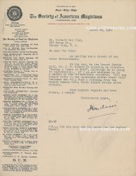 Harry Houdini Historical Signed Autographed Letter, 1922