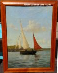 WARREN SHEPPARD Sailboat seascape 19th Century oil painting canv