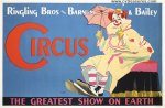 Circus Poster Ringling Brothers Rare release Clown 1940