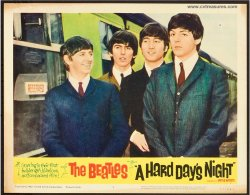 Beatles Hard Day's Night Vintage lobby card Movie Poster closeup