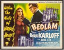 Bedlam Vintage Title Card Vintage Movie Poster Boris Karloff 46