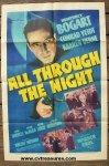 All Through theNight UNUSED Vintage Movie Poster Humphrey Bogart