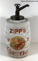Original 1910's Zipp's Cherri-o Soda fountain countertop syrup d