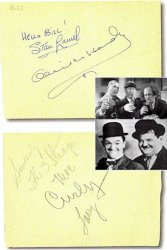 Three Stooges - Laurel & Hardy Autographs, TOGETHER!
