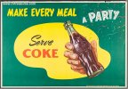 Coca Cola Vintage Advertising Poster Make Every Meal a Party
