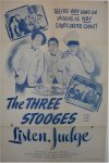 Three 3 Stooges Vintage Movie Poster Listen Judge one sheet 1952