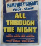 All Through the Night Vintage Movie Poster INSERT Bogart
