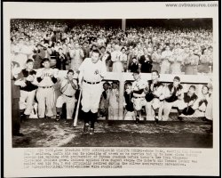 Babe Ruth Original Vintage Baseball Wire Photo 1948