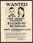 "JOHN DILINGER ""WANTED"" Reward for Capture Poster Photo"