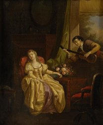 "Continental School ""Lady Being Serenaded"" 19th century painting"