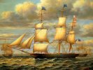 American Sail Ship Clipper Oil on Board 20th Century