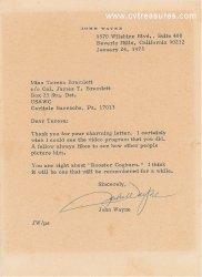 John Wayne Authentic Signed Autographed Letter Rooster Cogburn