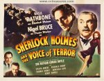 Sherlock Holmes and Voice of Terror Vintage Movie Poster half sh