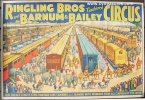 Original Old Circus Poster Vintage BARNUM & BAILEY Trains 1930