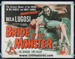 Bride of the Monster, Bela Lugosi Half Sheet movie poster 1956
