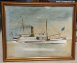 WATERCOLOR Painting SHIP PORTRAIT STEAMER GEN. MEIGS,