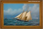 Two Mast Schooner Nautical Oil Painting Canvas Jerome Howes Art