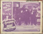 "Three Stooges Vintage Movie Poster Lobby Card ""Dizzy Detectives"""