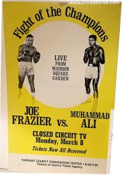 Joe Frazier Cassius Clay Vintage Boxing Poster Muhammad Ali