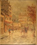 French Street Scene Vintage Oil Painting Canvas 1910-20