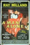 """A Man Alone"", Ray Milland 1955 One Sheet"