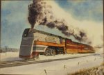 Francis Wenderoth Saunders Locomotive Snow Watercolor