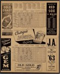 Boston Red Sox vs NY Yankess Original Vintage 1939 Scorecard