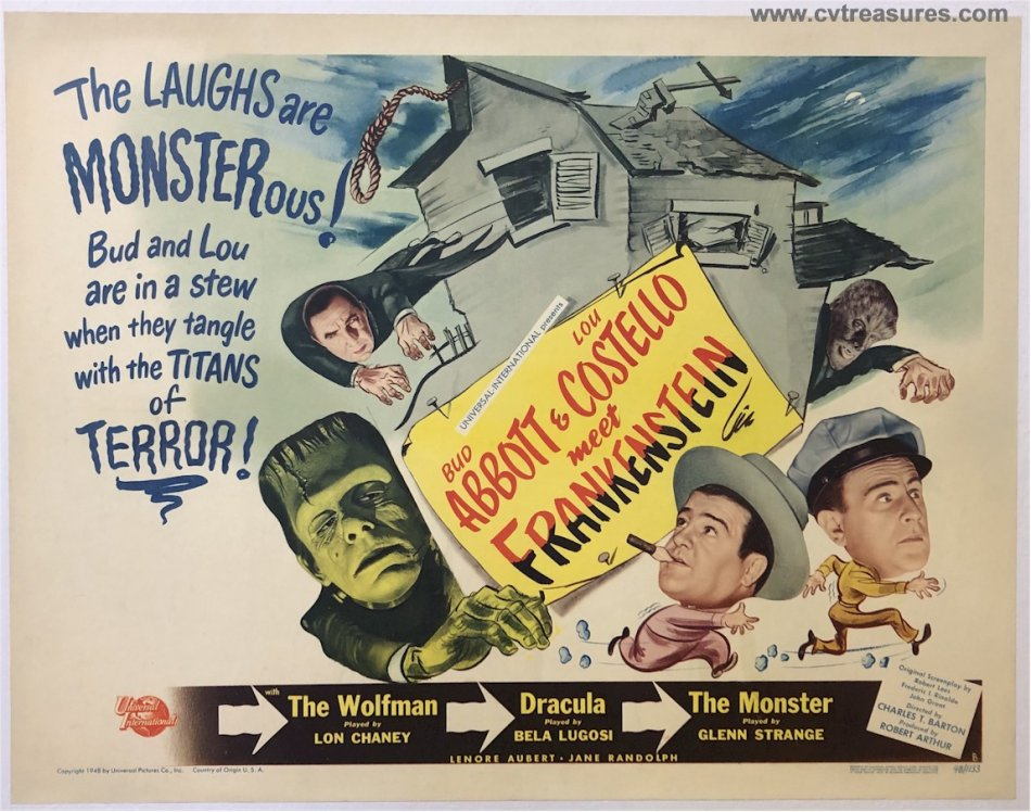 Abbott & Costello Meet Frankenstein Vintage Movie Poster Half Sh - Click Image to Close
