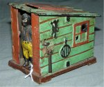 Antique Cast Iron Machanical Cabin Bank Ethnic 1885