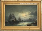 Marine Moonlit Harbor Scene Antique Oil Painting CONTINENTAL sch